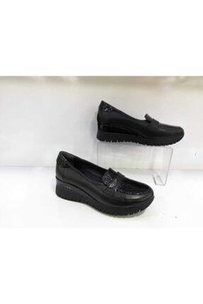 Mammamia Kadın Siyah Hakiki Deri Dolgu Topuklu Ayakkabı 55204