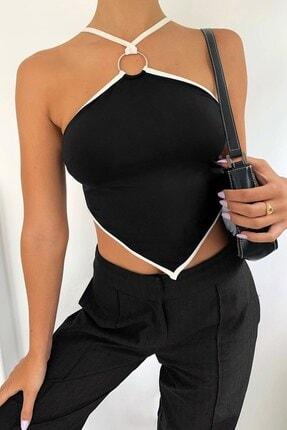 boutiquen 1543 Halka Detay Siyah Crop Bluz