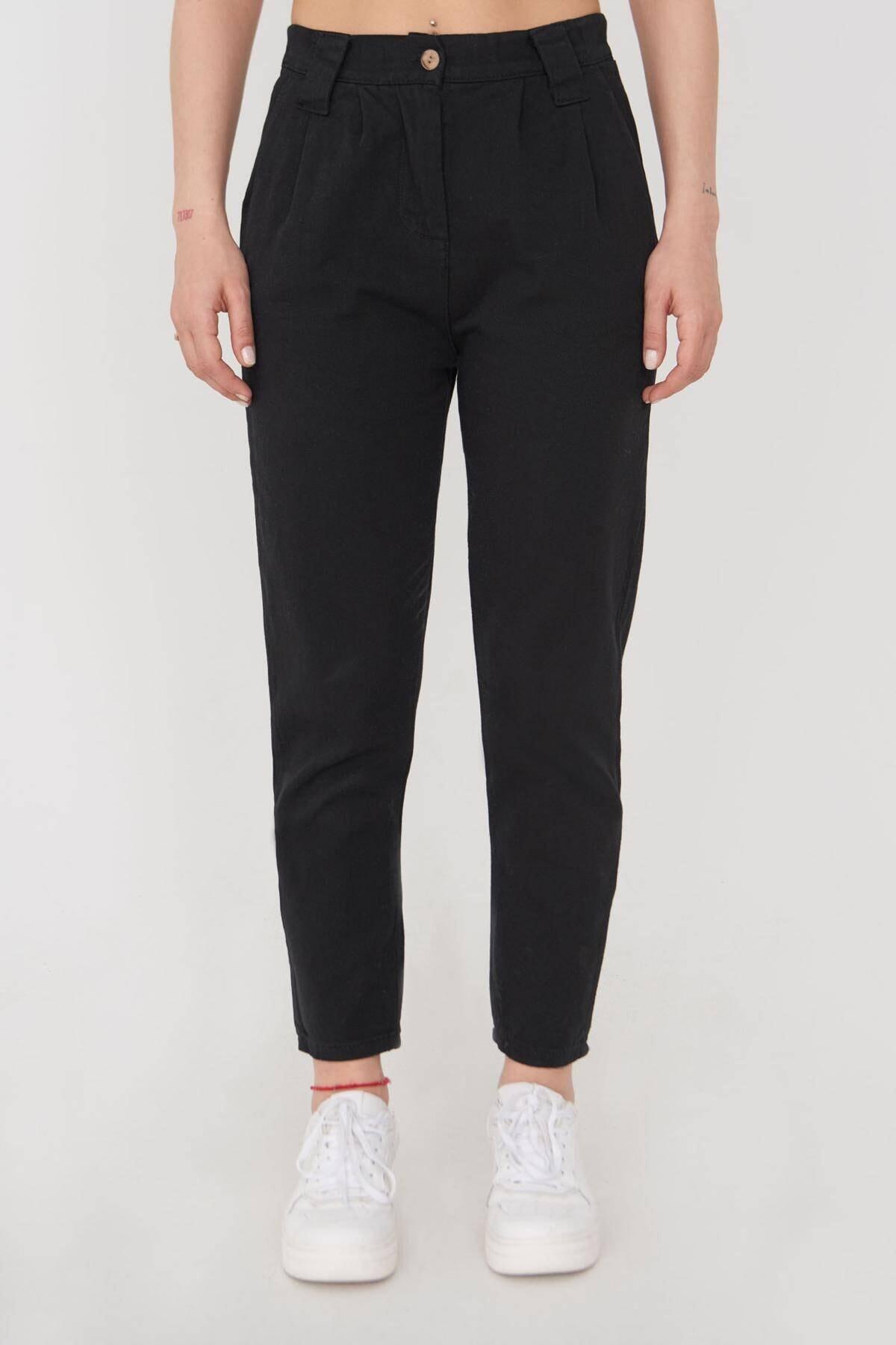 Addax Kadın Siyah Cep Detaylı Pantolon Pn4396 - G4 Adx-0000023917