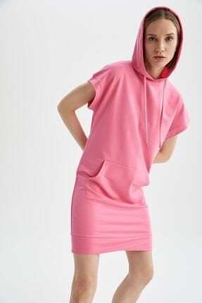 DeFacto Kadın Pembe Kapüşonlu Kanguru Cepli Kısa Kollu Elbise