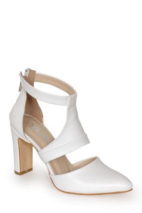 PUNTO Kadın Beyaz Bilekten Bağlı Topuklu Ayakkabı