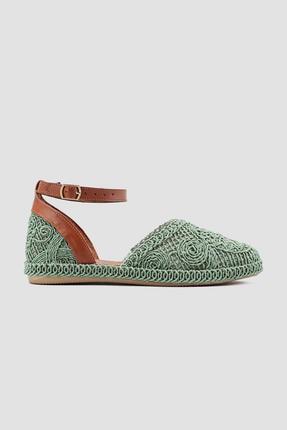 Limoya Kadın Yeşil Örgü Detaylı Triko Bilekten Baretli Sandalet