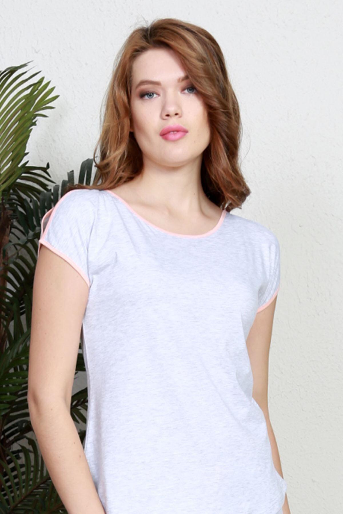 Pattaya Kadın Kısa Kollu Tişört Şort Pijama Takımı Y20s137-9111160000 2