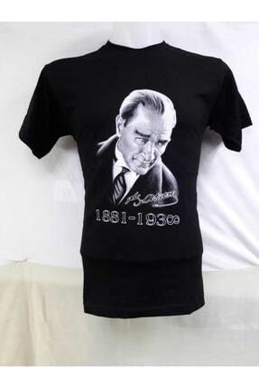 NACAR STORE Unısex Çocuk Siyah Mustafa Kemal Atatürk Baskılı Tişört