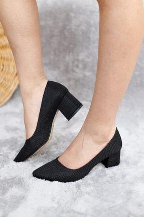 serhatlar Kadın Siyah Simli Günlük Yumurta Topuklu Ayakkabı