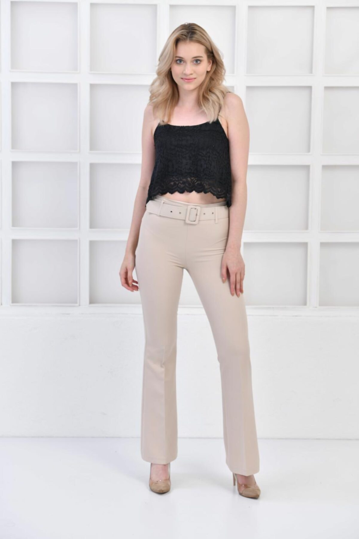 İroni Kemerli Ispanyol Paça Taş Pantolon 1