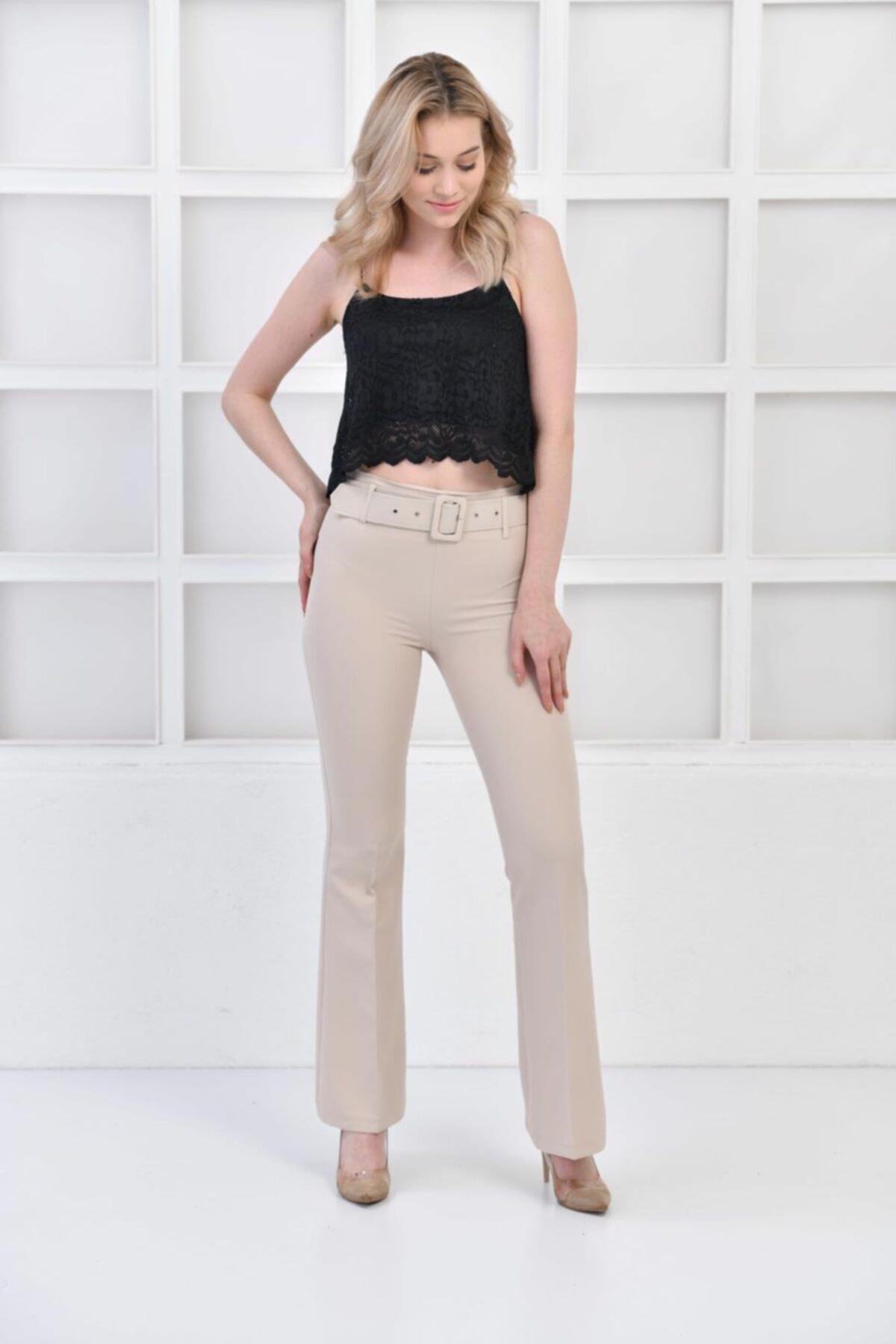 İroni Kemerli Ispanyol Paça Taş Pantolon 2
