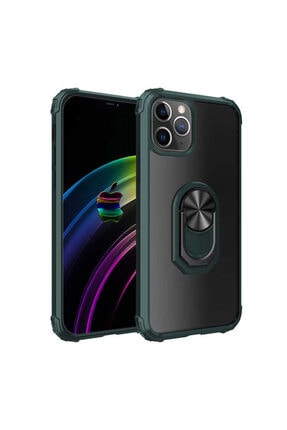 zore Iphone 12 Pro Max Uyumlu Yeşil Kenarları Renkli Darbe Emicili Yüzüklü Silikon Kılıf