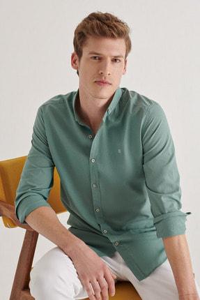 Avva Erkek Yeşil Düz Düğmeli Yaka Slim Fit Uzun Kol Vual Gömlek A11b2206