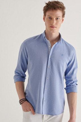 Avva Erkek Mavi Düz Düğmeli Yaka Regular Fit Gömlek A11y2026