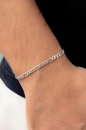 Ventino Silver Figaro 925 Ayar Gümüş Erkek Zincir Bileklik Veb-5021