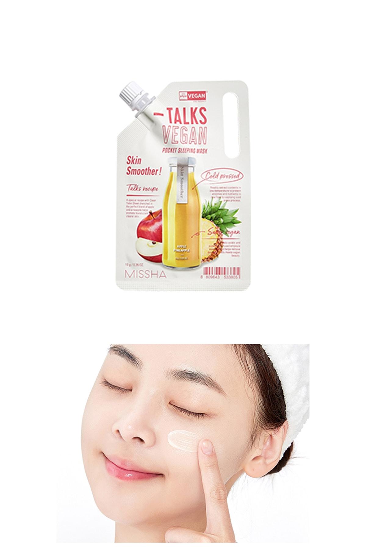 Missha Pürüzsüzleştirici Vegan Uyku Maskesi 10g Talks Vegan Squeeze Pocket Sleeping Mask (Skin Smoother)