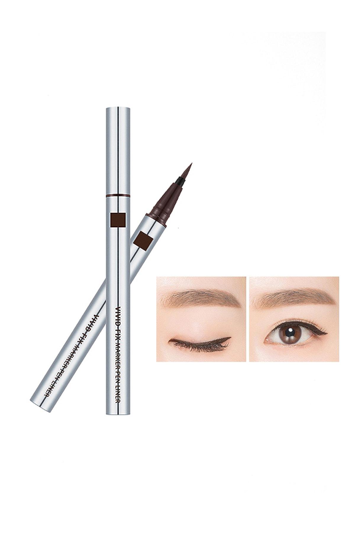 Missha Kalıcı & Suya Dyanaklı & Kadife Uçlu Eyeliner Vivid Fix Marker Pen Liner (Deep Brown)
