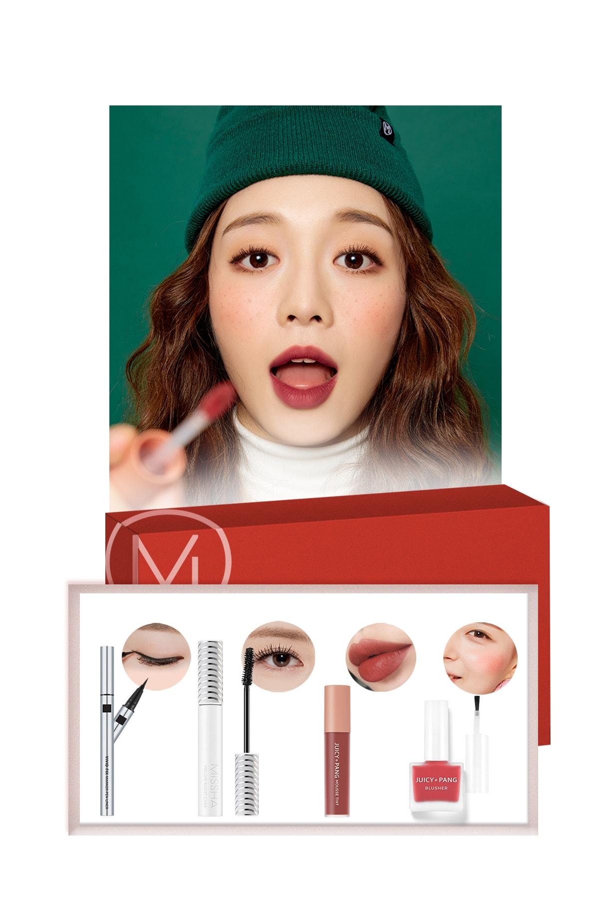 Missha Red Makyaj Seti  Best Seller Maskara-Ruj-Allık-Eyeliner  - Lovely Cherry