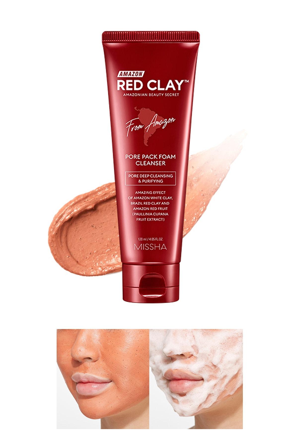 Missha Gözenekli Ciltler İçin Amazon Kili Temizleyici 120ml Amazon Red Clay Pore Pack Foam Cleanser