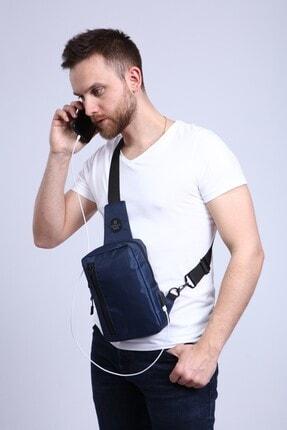 My Valice Unisex Lacivert Smart Bag Usb'li Çapraz Göğüs Çantası 1508