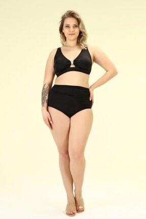 Bellisa Kadın Siyah Önden Tokalı Korsajlı Yüksek Belli Bikini Takımı Takımı