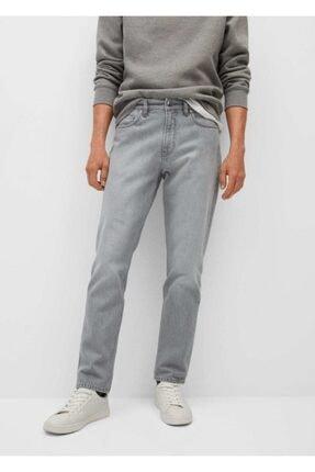MANGO Man Düz Kesim Gri Bob Jean Pantolon