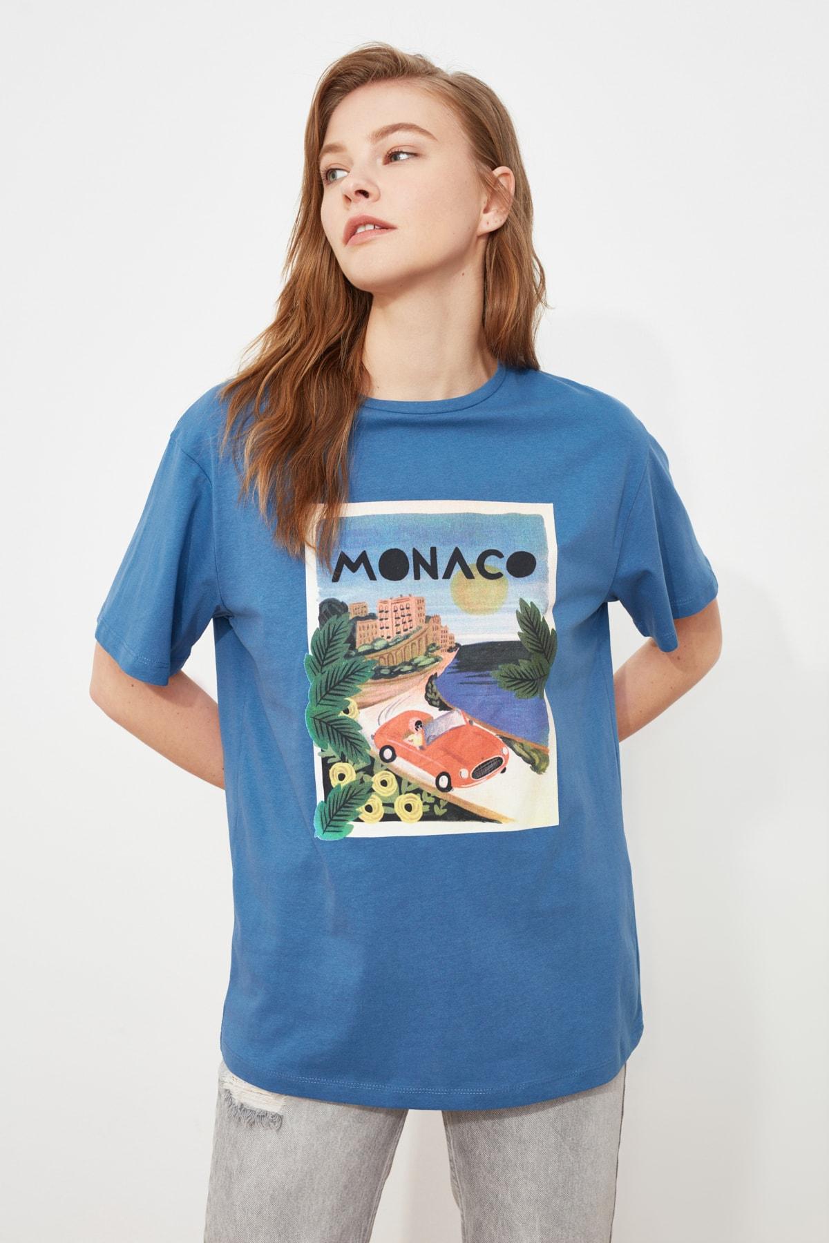 TRENDYOLMİLLA Mavi Baskılı Boyfriend Örme T-Shirt TWOSS20TS0491 1
