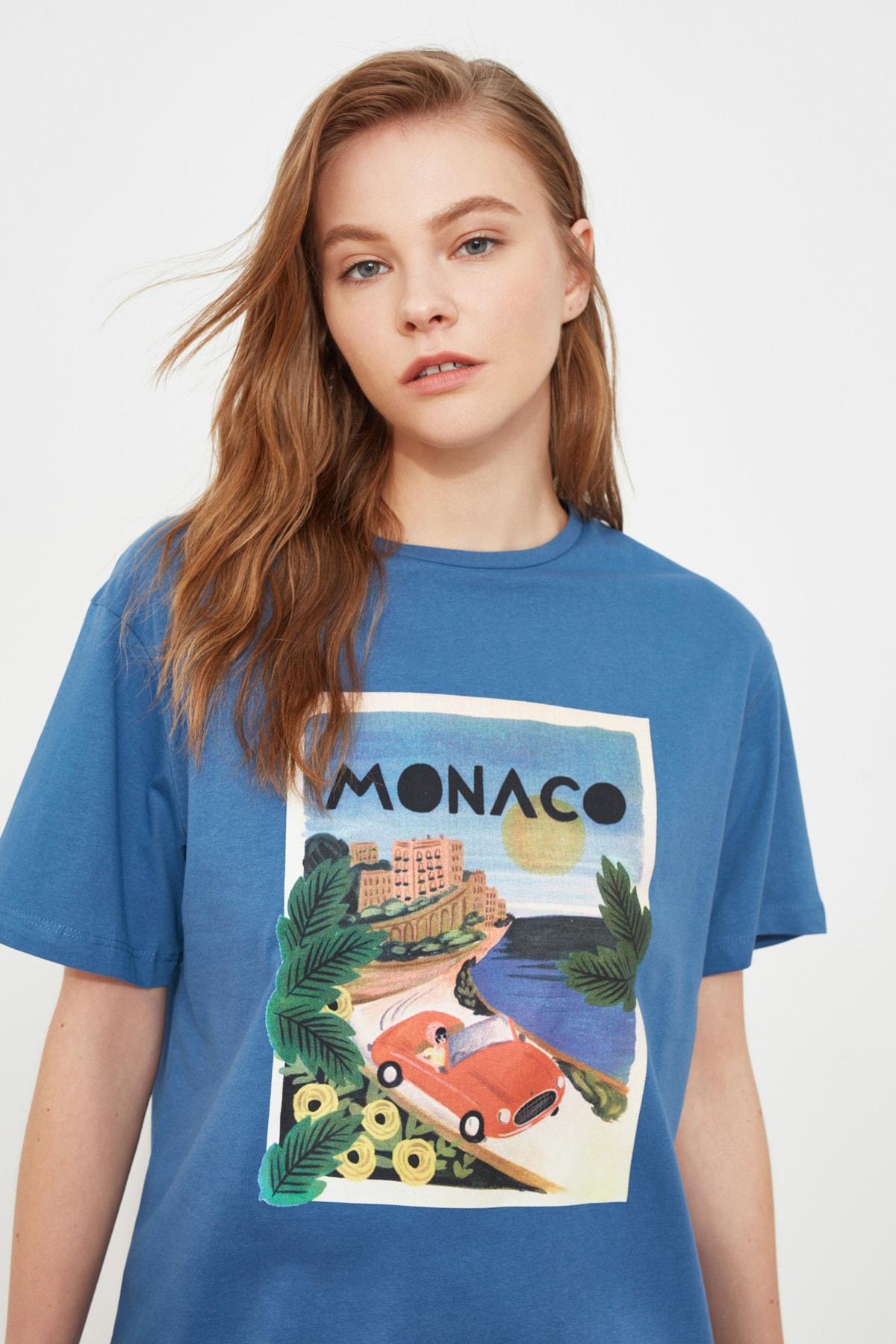 TRENDYOLMİLLA Mavi Baskılı Boyfriend Örme T-Shirt TWOSS20TS0491 2