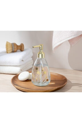 English Home Dandelion Cam Banyo Sıvı Sabunluk 7x7x18 Cm Gold
