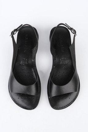 Marjin Kadın Siyah Hakiki Deri Düz Günlük Sandalet Danis