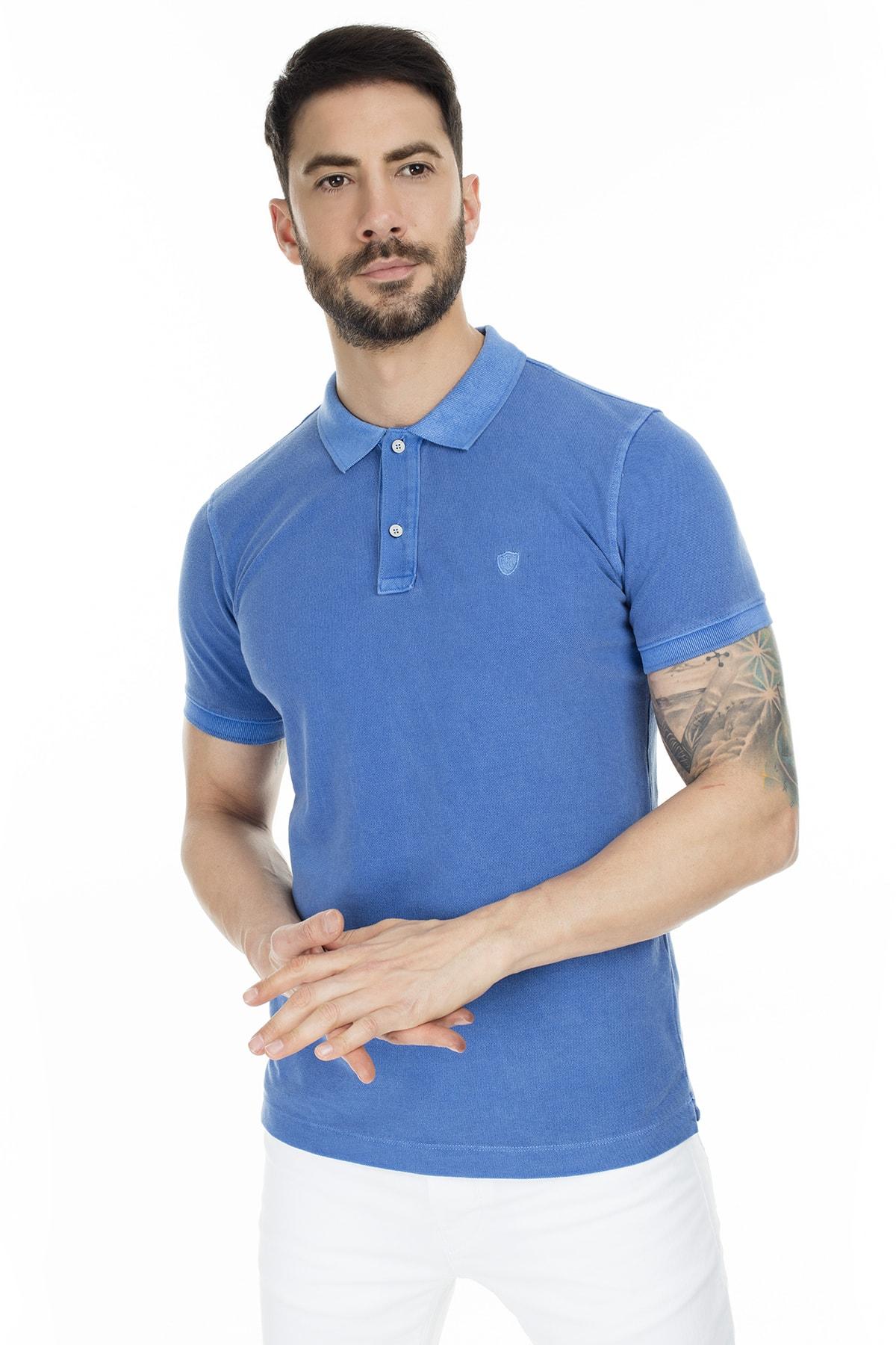 Lufian Erkek Saks Mavi Vernon Spor Polo T- Shirt