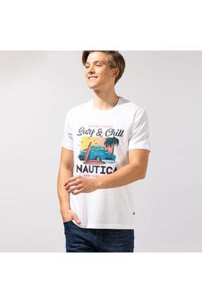 Nautica Erkek Beyaz Baskılı T-shırt