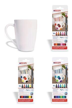 Edding Porselen Kalemi Standart Sıcak Soğuk Renkler + Porselen Kupa