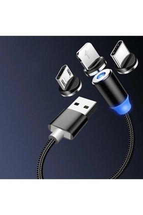 Shotex Samsung Galaxy J7 Duo Cep Telefonu Uyumlu 3in1 Mıknatıslı Hızlı Şarj Kablosu Şarz Aleti Kablosu