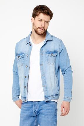 DAMGA JEANS Erkek Açık Mavi Likralı Kot Ceket