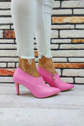 BARANSELLS Kadın Pembe Cilt Topuklu Stiletto