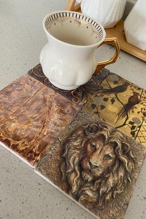 bluecape Gold Seri Doğal Taş Baskılı Dekoratif Bardak Altlığı  Set 001 4'lü