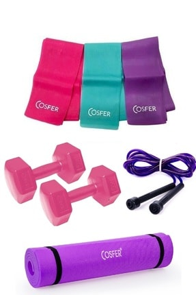 Cosfer 4 Parça Pilates Seti Mor Renk