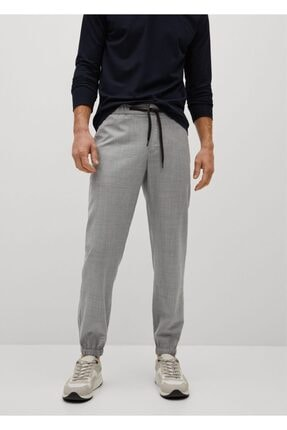 MANGO Man Erkek Gri Packable Koleksiyon Teknik Yün Kumaşlı Pantolon