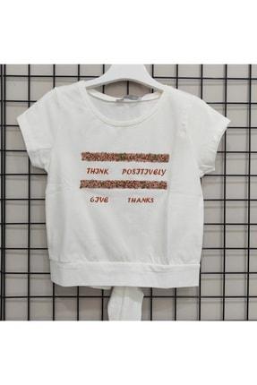 NK Kız Çocuk Ekru Turuncu Taşlı Bağlamalı T-Shirt