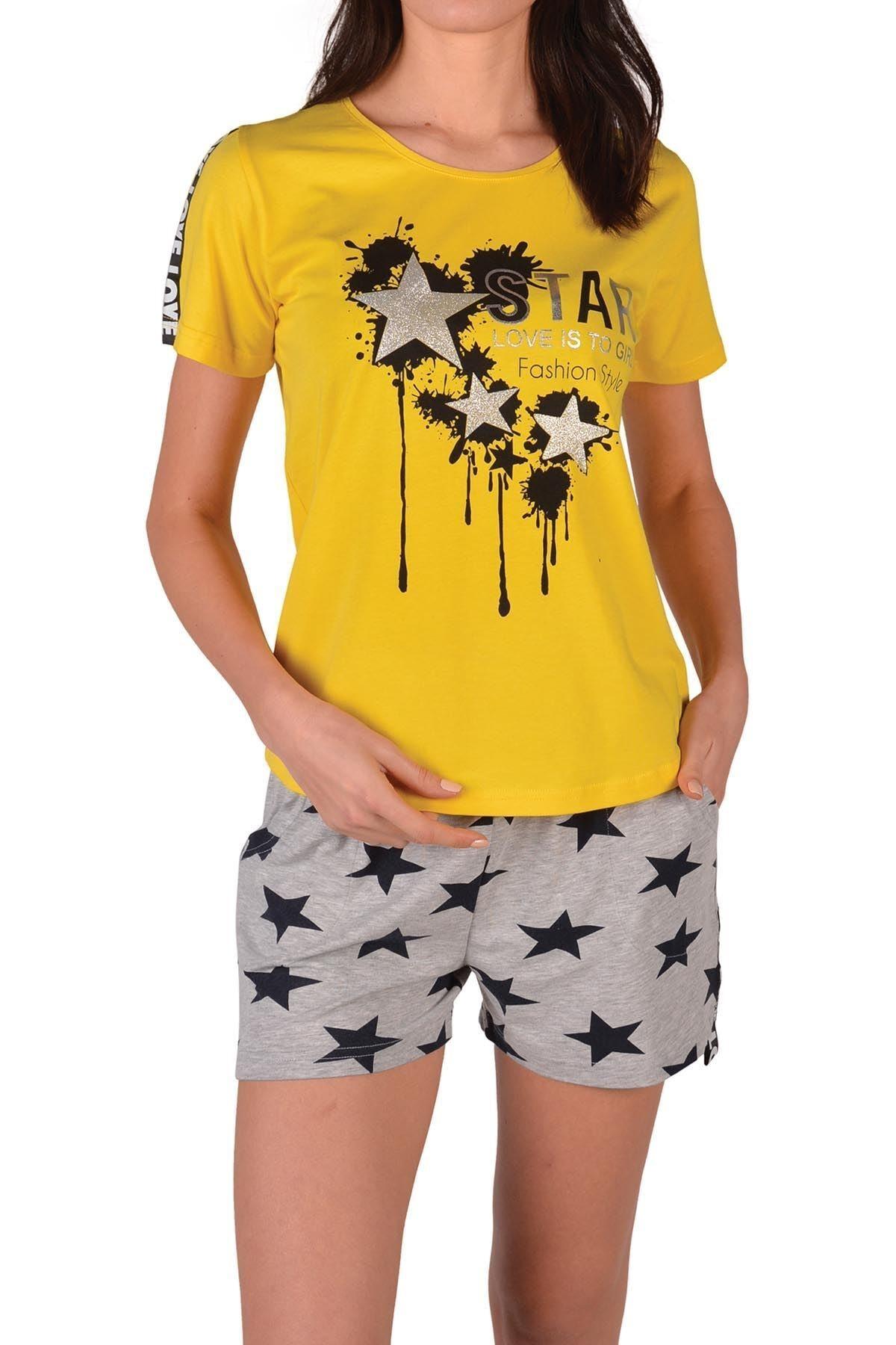 Nicoletta Sarı Kadın Şortlu Pijama Takımı Kısa Kollu Cepli Pamuk 1