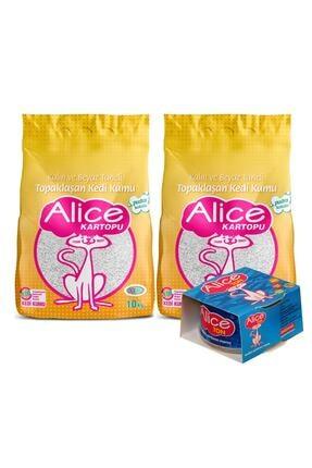 Alice Kartopu Kalın ve Beyaz Taneli Pudra Kokulu Kedi Kumu 2x10 kg + Ton