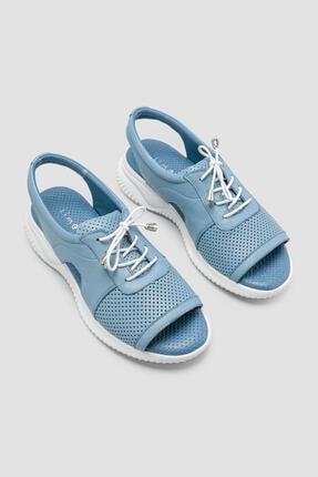 Limoya Kadın Mavi Hakiki Deri Barbra Zımba Delikli Sandalet