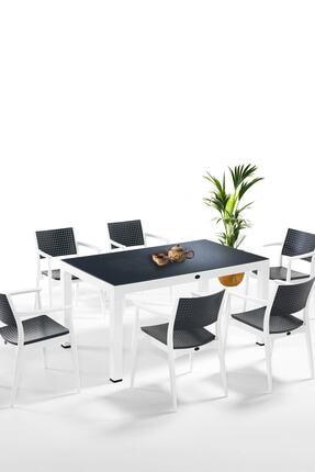 Novussi Seginus 6'lı Antrasit-beyaz Masa Takımı - 2020 Yeni Model Ücretsiz Kargo