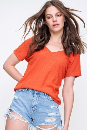 Trend Alaçatı Stili Kadın Mercan Arka Ön V Yaka Merserize Fitilli Bluz ALC-019-029-001