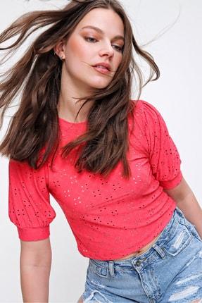 Trend Alaçatı Stili Kadın Mercan Balon Kol Fisto Örme Bluz ALC-019-013-001