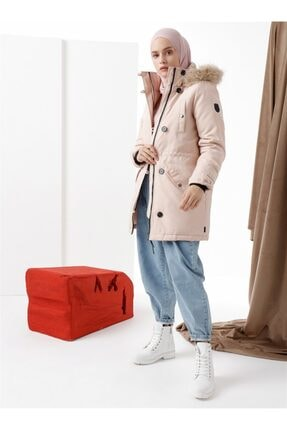 Vero Moda Beli Büzgülü Kaban Somon