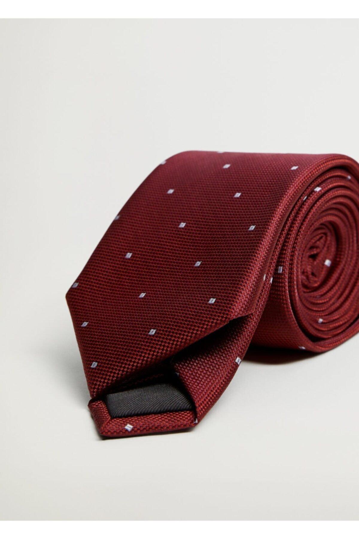 MANGO Man Erkek Kırmızı Geometrik Desenli Kravat 1