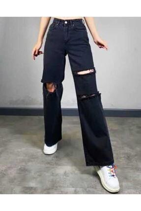 arer butik Kadın Siyah Salaş Yırtık Jeans