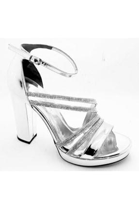 Pierre Cardin Pc-50021 Gümüş Kadın 11cm Taşlı Tek Bantlı Abiye Ayakkabı