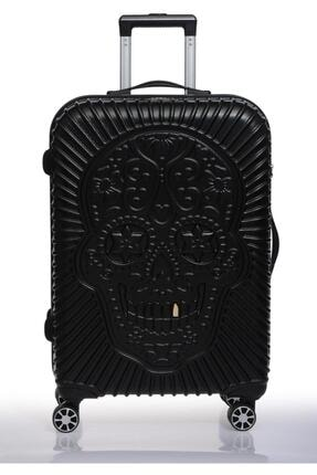 ÇÇS Siyah Kuru Kafa Detay Abs 8 Tekerlekli Orta Boy Valiz Bavul 5180-2