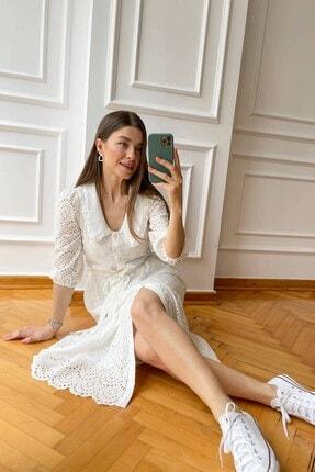 Sue Store Beyaz Yaka Detay Astarlı Fisto Elbise