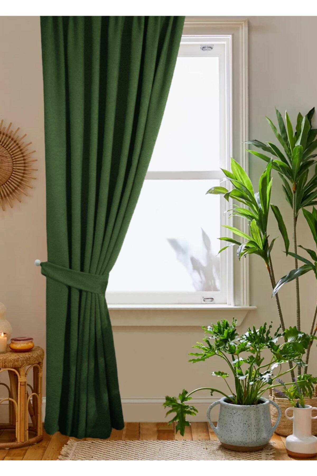 home color  home Yeşil Petek Kadife Dokulu Fon Perde 140x260 Düz Dikişli Ekstrafor Büzgü 2