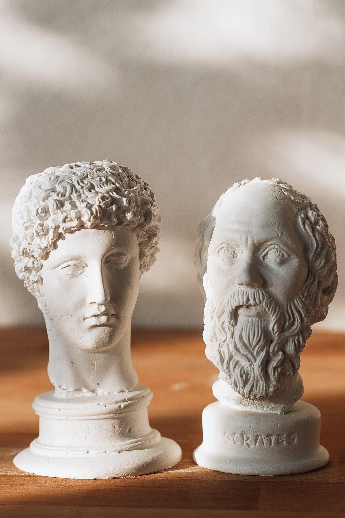 BEIGE Beyaz Hermes + Socrates 2'li Heykel Büst 1